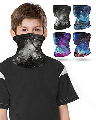 4 PCS Kids Face Mask Neck Gaiters Full-Coverage Bandanas Headband Tube Neck for Boys Girls, School Supplies for Kids (B Galaxy/Pack of 4, 7-10T/8.2713.39inch)