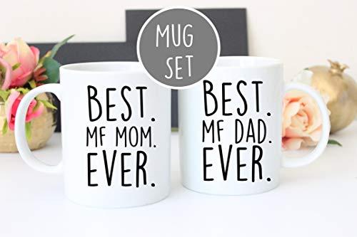 """Lplpol Weiße Tasse mit Aufschrift """"Best Dad Mom and Dad"""" (in englischer Sprache)"""