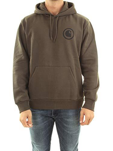 Carhartt I027114 Hooded Protect Sweat Felpa Uomo con Cappuccio Stampata Cypress Verde Militare (S)