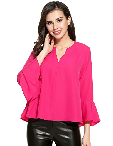 Corgy Women's 3/4 Long Bell Sleeve Blouse Loose Trumpet T-Shirt Casual Solid Flare Tops