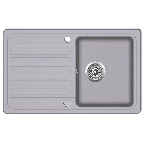 vidaXL Granitspüle Drehexcenter 76,5cm Grau Spülbecken Einbauspüle Küchenspüle