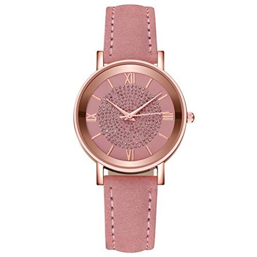 Ladies Watches Minimalist Quartz Watch Gypsophila Clock with Roman Scale Starry Sky Dial Wristwatch for Women Girls Gift for Easter Birthday