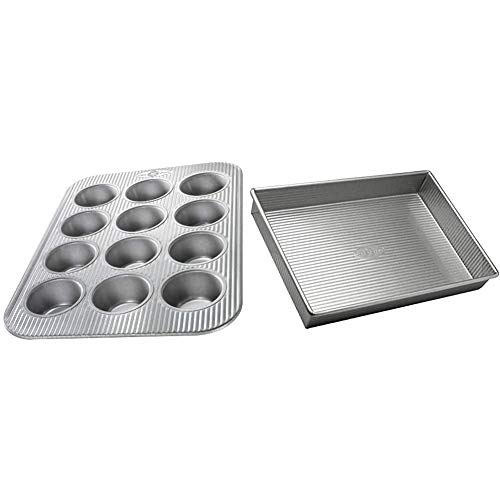 USA Pan (1200MF) Bakeware Cupcake and Muffin Pan & Bakeware Rectangular Cake Pan, 9 x 13 inch, Nonstick & Quick Release Coating, Made in the USA from Aluminized Steel