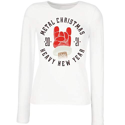 lepni.me Maniche Lunghe Femminili T-Shirt Metallo Natale Pesante Capodanno 2021 Regalo di Natale Sarcastico (Small Bianco Multicolore)