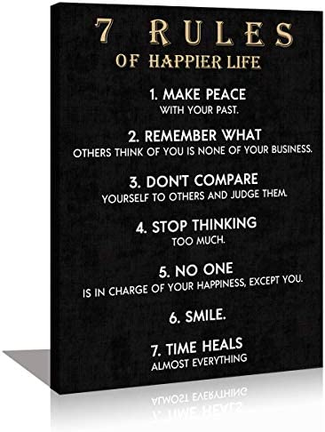 KuyiArt Motivational Wall Art Motto Vintage 7 Rules of Happier Life Picture Canvas Prints Framed product image