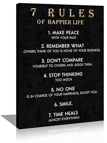 KuyiArt Motivational Wall Art Motto Vintage 7 Rules of Happier Life Picture Canvas Prints Framed Rustic Inspirational Quotes Painting Artwork for Home Office Décor