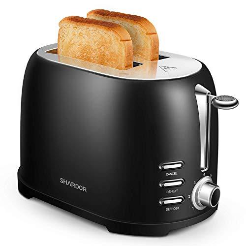 SHARDOR Toaster Edelstahl Schwarz Automatik Toaster Kompakt 2 scheiben mit extra breite Toastschlitze(35mm),7 Bräunungsstufe,800W