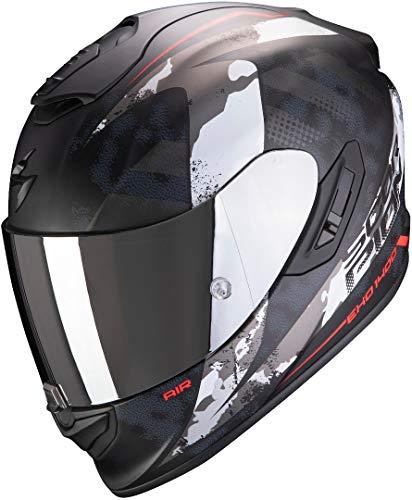 Scorpion EXO-1400 Air SYLEX Casco para Moto, Accesorio Unisex para Adultos, Matt Black-Silver Red, M