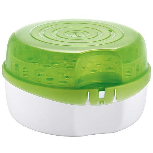 MAM Mikrowellen-Dampfsterilisator inkl. 1x MAM Anti-Colic Flasche (160 ml), Sterilisator für Babyflaschen, Schnuller & Zubehör, sicherer Flaschensterilisator, weiß/grün