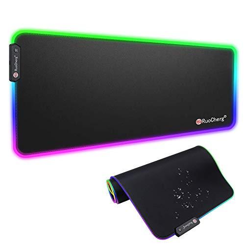 RGB Mauspad, 800 x 300 mm Gaming Mousepad mit 9 LED Farben 12 Beleuchtungs-Modi Mouse Pad Schreibtischunterlage Wasserdicht Anti Rutsch Matte für Computer PC Professionelle Gamer