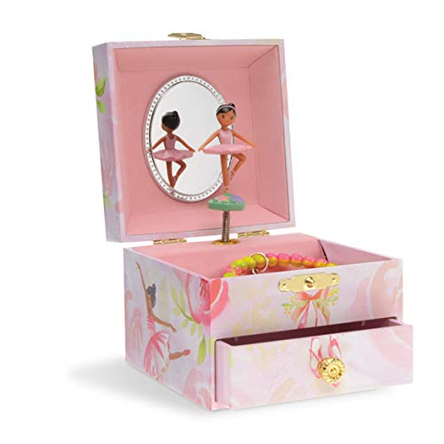 Jewelkeeper Musical Jewelry Box, Pink Rose Ballerina Design with Pullout Drawer, Swan Lake Tune Black Designer Jewelry Box