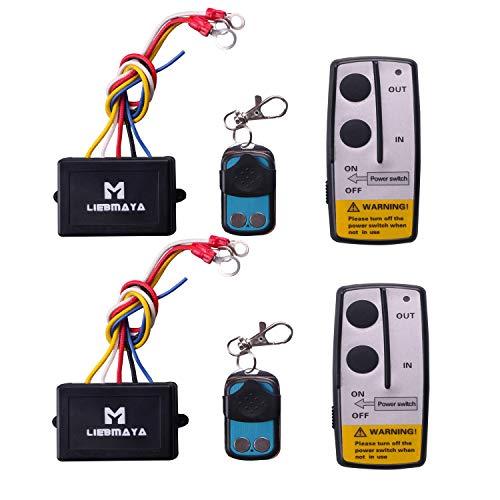 LIEBMAYA 2PCS Wireless Winch Remote Control Kit 12V Switch Handset for Truck Jeep SUV ATV 50Ft