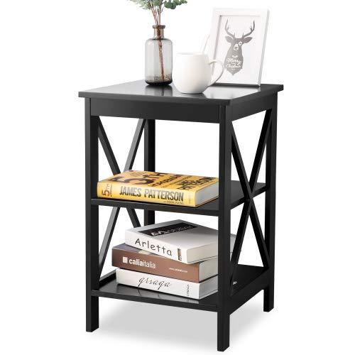 Mmrm2 Mesa auxiliar para sofá con 3 niveles, mesa de noche, para salón, dormitorio, cocina, cualquier habitación, color negro.