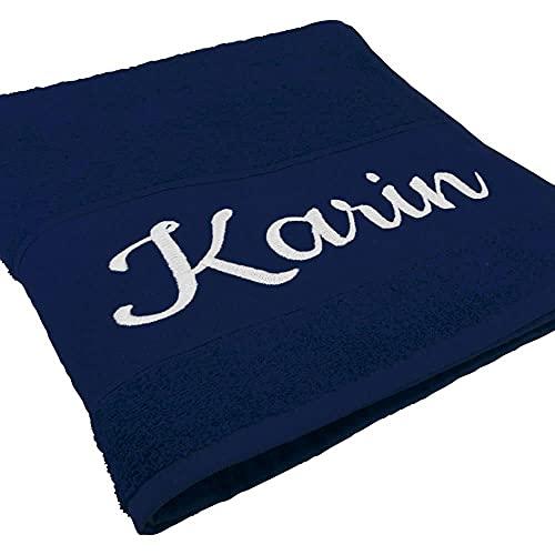 Handtuch mit Namen oder Wunschtext Bestickt, personalisiertes Duschtuch, individuelles Badetuch, 100% Baumwolle, 100 x 50 cm Navyblau