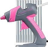 Mini Hot Glue Gun by Chandler Tool - 25 Watt Mini Size High Temp Hot Melt Mini Glue Gun Kit With 10 Pcs Mini Hot Glue Sticks, Patented Base Stand for Arts & Crafts, DIY & More (Pink)