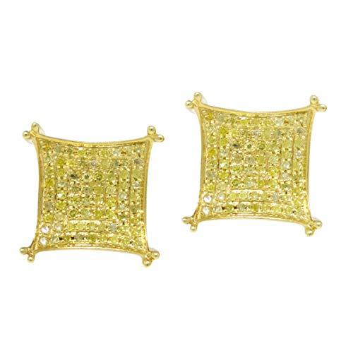 Orecchini da uomo in argento sterling placcato oro giallo 10k Orecchini a perno in argento con diamante da 15 mm. 75 Ct