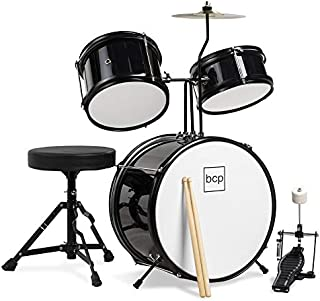 Best Choice Products Kids Beginner 3-Piece Drum Set, Junior Size Musical Instrument Practice Kit w/ Sticks, Cushioned Stool, Cymbal, 2 Toms, Bass, Drum Pedal - Black