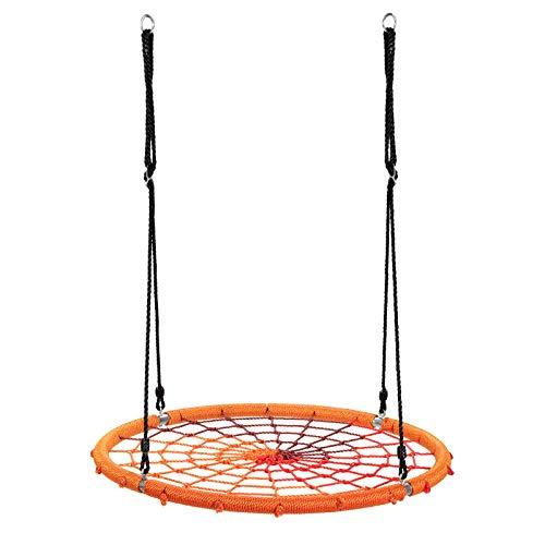 COSTWAY Columpio Nido de Ø100cm Cuerda Ajustable de 100-160cm Columpio Redondo de Niños para Interior y Exterior Jardín Parque Carga hasta 150kg (Naranja)