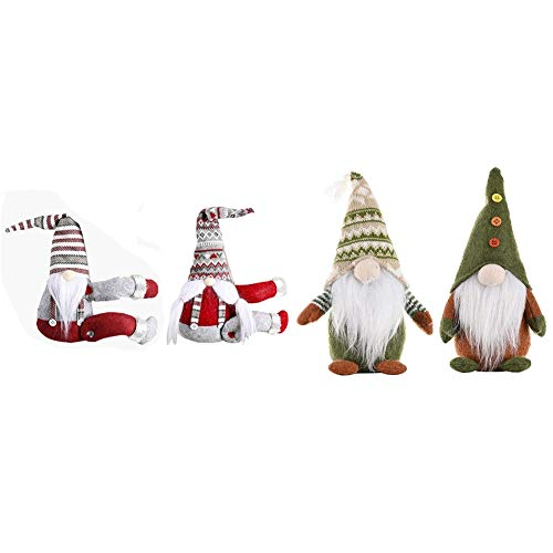 Semoic 2Pcs Knitted Non-Woven Fabric Standing Faceless Doll & 2Pcs Sitting Striped Hat Forest Santa Claus Curtain Tied