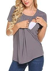 eb3dd99f68b #5 MAXMODA Women's Comfy Maternity Nursing Tee Shirt Short Sleeve  Flattering Sides Double Layer Breastfeeding Tops S-XXL