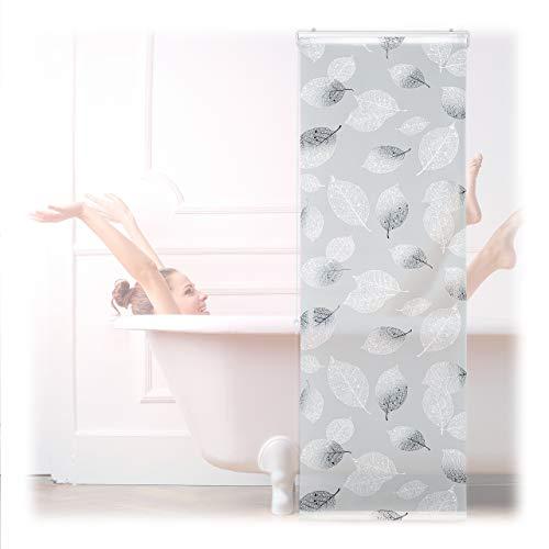 Relaxdays Duschrollo, Blatt Muster, Seilzug, Flexible Montage, Duschvorhang für Badewanne, schwarz-weiß, 60 x 240 cm