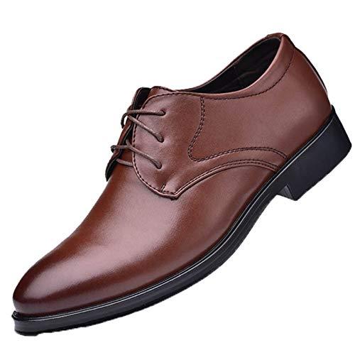 Zapatos de Vestir para Hombre Zapatos de Cuero con Cordones Transpirables de Corte bajo concisos de Color sólido con Estilo Derby para Traje Formal