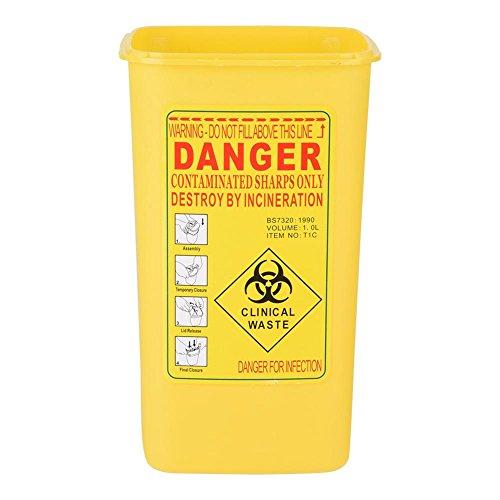 Contenedor de agujas - Contenedor de objetos punzantes de plástico médico de tatuaje de tamaño 1L Caja de residuos de eliminación de agujas de riesgo biológico(Amarillo)