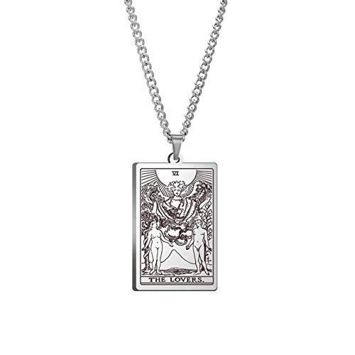 WUJIAO Collar de Tarot, sexta Carta, Hecho a Mano, Regalo de San Valentín, joyería de Amuleto para Hombres Silver