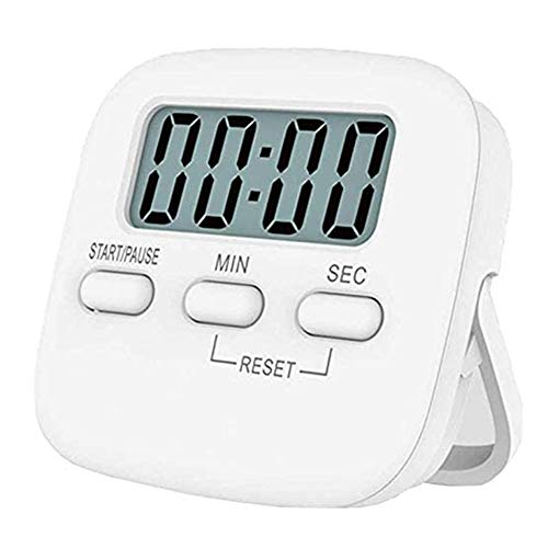 NIAGUOJI Küchentimer, großer LCD-Display, digitaler Küchen-Timer, magnetische Stoppuhr, Timer mit lautem Alarm, Countdown-Uhr (weiß)