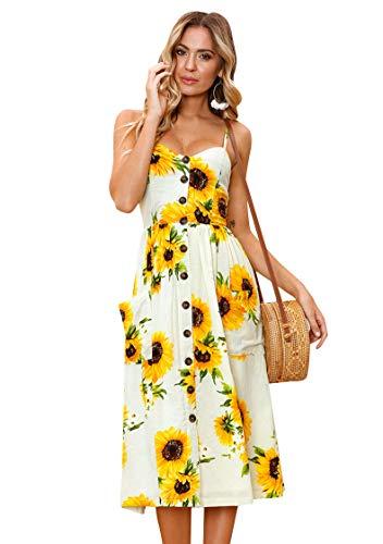 OMZIN Damen Kleid Blumenkleid A-Linie Vintage Strandkleid Sommerkleid Midikleid Sexykleid Blumenkleid Gelb L