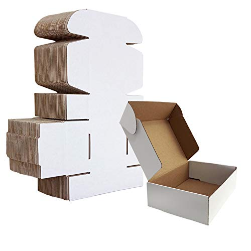 HORLIMER 7x5x2 inches Shipping Boxes Set of 25, White Corrugated Cardboard Box Literature Mailer