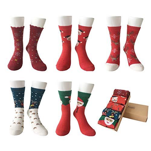LIKERAINY Mujeres Dama Térmicos Calcetines de Lana Navidad Tamaño Estándar 5 Pares
