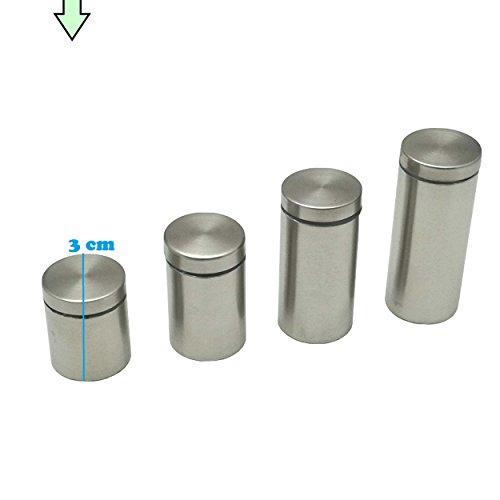 4x Spiegel Halterung Befestigung Edelstahl gebürstet - Abstandshalter für Glas, Acrylglas, Bilder oder Spiegel (3 cm - Ø 2,5 cm)