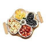 Yinmake - Piatto per snack in ceramica, 4 pezzi, bianco, a...
