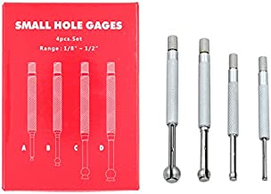 DGOL Full Ball Small Hole Gage Range 1/8 inch - 1/2 inch 4 pcs Telescoping Bore Gauge