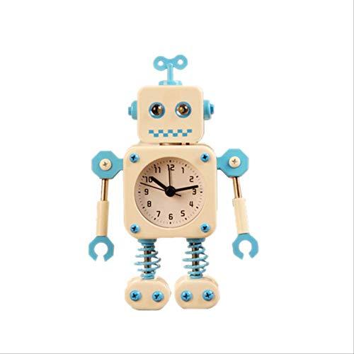 Robot De Deformación, Relojes Despertadores, Decoración Pequeña Creativa, Reloj Despertador, Reloj para Estudiantes, Reloj Despertador De Metal con Dibujos Animados para Niños Blanco