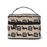 Neceser de maquillaje portátil para perro salchicha, organizador de viaje, maletín multifunción con doble cremallera, bolsa de aseo para mujer (9 x 6,2 x 6,5 pulgadas)