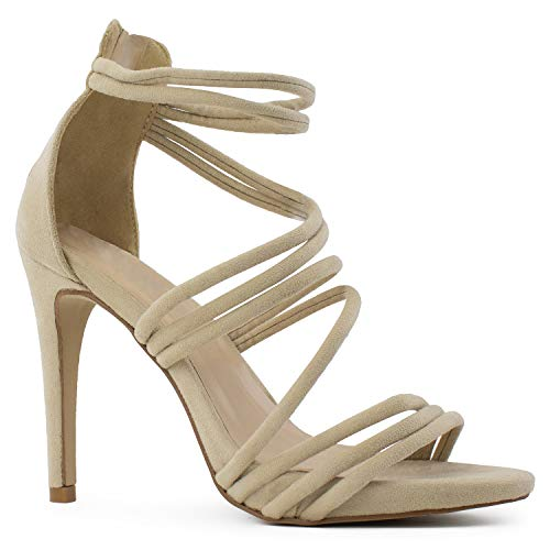 RF ROOM OF FASHION Open Toe Strappy Back Zip Stiletto Heel Dress Sandal Pumps TAUPE SUEDE Size.8