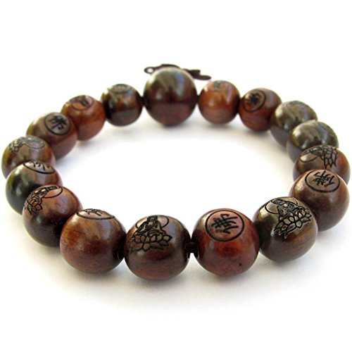 OVALBUY Tibetan Buddhist 12mm Wood Beads Fo Kwan-yin Mala Meditation Wrist Bracelet