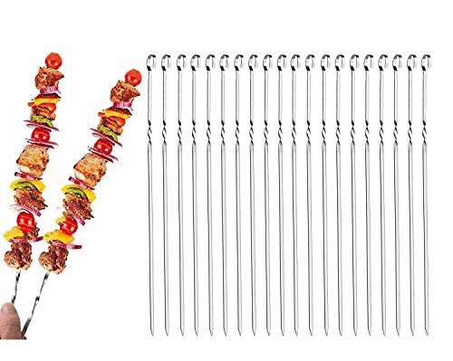 Qiwenr 24 Piezas Brochetas de Barbacoa de Acero Inoxidable, Pinchos para Barbacoa de 40 cm, Brochetas de la Parrilla Reutilizables, Brochetas de Kebab para fogata o Parrilla