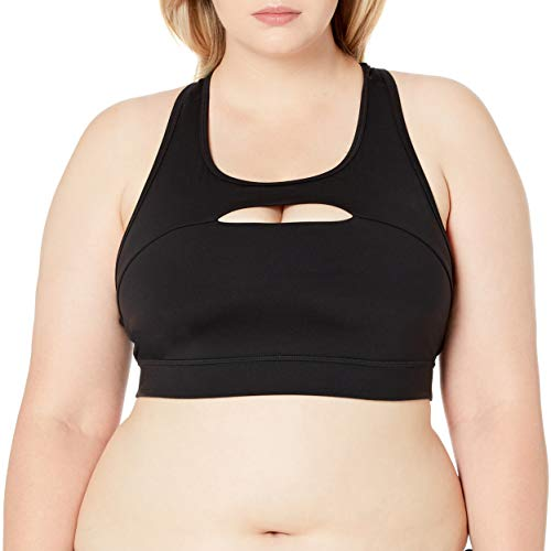 Amazon Brand - Core 10 Women's Icon Series - The Rebel Sports Bra, black, S (4-6)