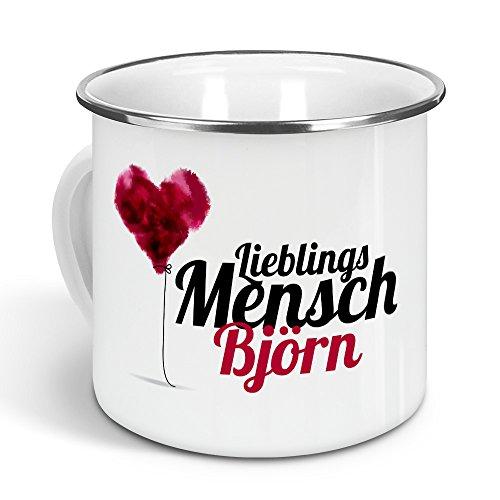 printplanet - Emaille-Tasse mit Namen Björn - Metallbecher mit Design Lieblingsmensch - Nostalgie-Becher, Camping-Tasse, Blechtasse, Farbe Silber, 300ml