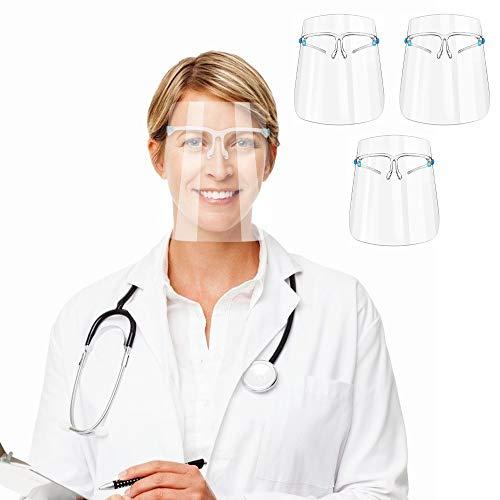 3 Stücke Gesichtsschutzschild Sicherheit Gesichtsschutz mit Visier Schutzhelm Gesichtsschutzschirm Klar Schutzbrille Gesichtsschild für Arzt Outdoor Arbeit Küche