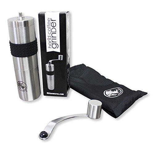 Rhino Coffee Gear RWHANDGRINDER Hand Coffee Grinder, Silver