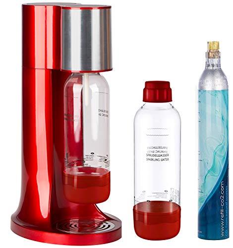 Levivo Wassersprudler Set/Trinkwassersprudler Starter Set inkl. 2 Sprudlerflaschen je 1l aus PET und CO2-Zylinder, klassischer Sodabereiter für individuelles Zusetzen von Kohlensäure in Leitungswasser