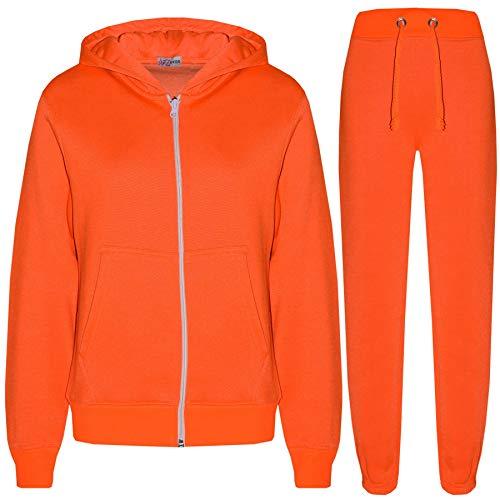 A2Z 4 Kids® Kinder Mädchen Jungen Einfache Trainingsanzug Kapuzenpullover - Plain Tracksuit Neon Orange 2-3