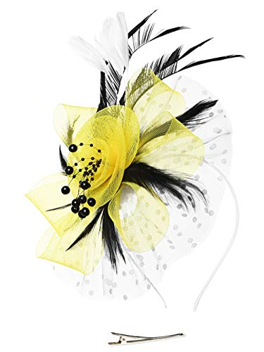 Fascinators Headband Tea Party Hats for Women Royal Wedding Hat Feather Mesh Hair Clip (1-Yellow and White and Black)