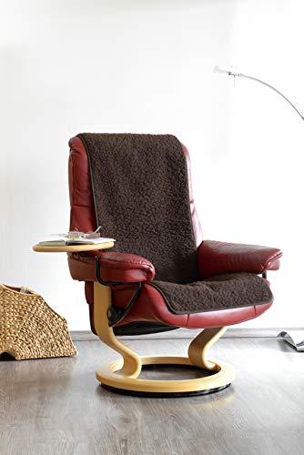 Schurwoll-Sessel- oder Sofaläufer, Braun, Flor aus 100% Schurwolle, Maße ca. 160 x 50 cm