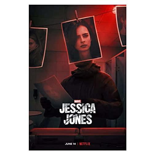 qinminsru Jessica Jones Poster Temporada 3 Hot TV Series Movie Classic Photo and Poster Wall Art Decoración Cuadros 50 x 70 cm Sin marco