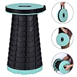 Portable Camping Folding Stool,Lightweight and Maximum Loads 330lbs,Retractable Collapsible Stool for BBQ Hunting Travel Fishing (Tiffany Blue)